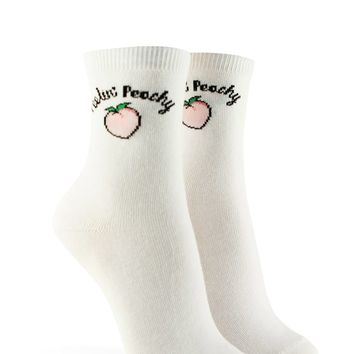 Feelin Peachy Graphic Crew Socks