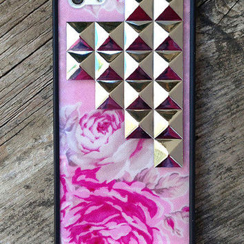 Pink Floral Silver Pyramid iPhone 5 Case | wildflower cases