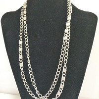 1970s Monet Disco Chain Necklace, Textured Silver Tone Links, 54 Inches, Signed, Summer Fun, Vintage Jewelry 718m