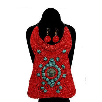 Red and Turquoise Bead Raised Collar Long Bib Necklace Set