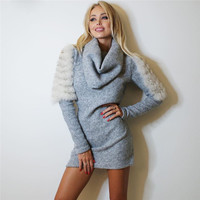 2016 Fall Winter Women Stretchy Knitted Sweater Dresses Ruched Neck Long Sleeve Straight Mini Dress