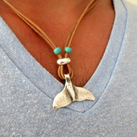 Men's Necklace - Men's Whale Tail Necklace - Men's Leather Necklace - Mens Jewelry - Necklaces For Men - Jewelry For Men - Gift for Him