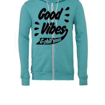 Good Vibes - Unisex Full-Zip Hooded Sweatshirt