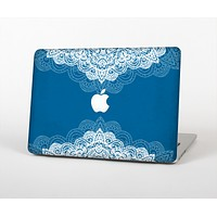 The Intricate Blue & White Snowflake Name Script Skin Set for the Apple MacBook Pro 13""