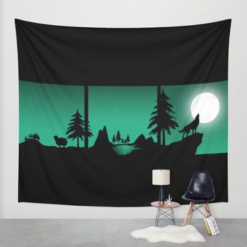 The sheep and the wolf in the woods Wall Tapestry by Xiari | Society6