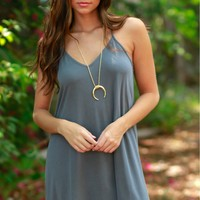 Hey Girl Basic Dress Charcoal