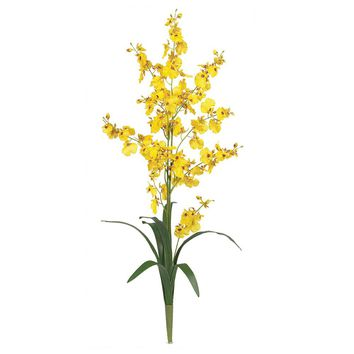 Silk Flowers -Dancing Lady Orchid Flower -6 Stems Artificial Plant