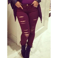 Stylish Mid-Waisted Skinny Wine Red Ripped Women's Jeans