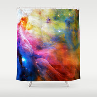 Hubble 1 Orion Nebula M42 Shower Curtain by Blooming Vine Design