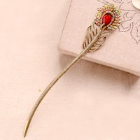 Retro Rhinestone Feather Hair Stick Antique Metal Vintage Women Hairpins Accessories
