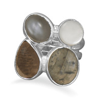 Labradorite, Quartz, Moonstone and Mother of Pearl Ring