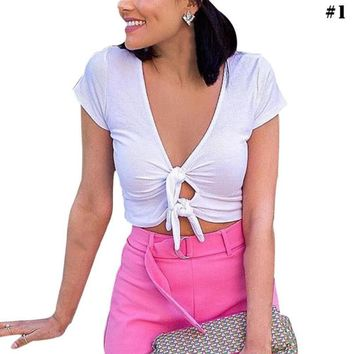Women Short Sleeve Bow Tie V Neck Crop Tops Summer Club Casual T Shirt