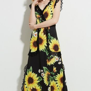 Chicloth Lace Edge Maxi Dress Yellow Sunflower V-Neck