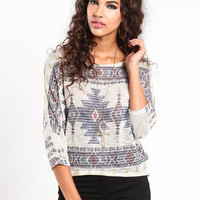 NAVAJO KNIT DOLMAN SLEEVE TOP