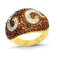 Gold Over Bronze Swarovski Elements Brown & White Crystal Ring - Size 7