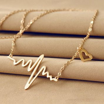 LNRRABC Wave Heart Chic ECG Heartbeat Rose Gold/Silver Color Pendant Charm Necklaces Chain Rhythm Valentine's Day Gifts