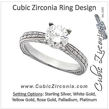 Cubic Zirconia Engagement Ring- The Stella (1 Carat Round Cut Solitaire with Hand-engraved Band)