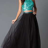 Two Piece High Neck Sequin Sleeveless Long Prom Dress