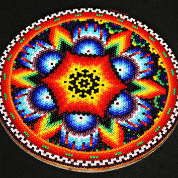 Mexican Bead Painting, Traditional Spiritual Art, Huichol Art, Ceremonial Art, Meditation Art, Ethnic Home Decor, Native American Art, 6""