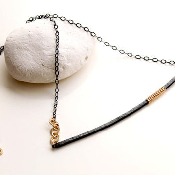 Bar Necklace, Mixed metal necklace, Oxidized silver, steel and gold necklace, Minimalist style necklace, 2015 Jewelry trends, black and gold