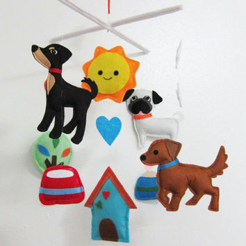 "Baby Mobile - Pug Crib Mobile - ""Walking Puppy""  - Handmade Nursery Mobile (Match your bedding)"