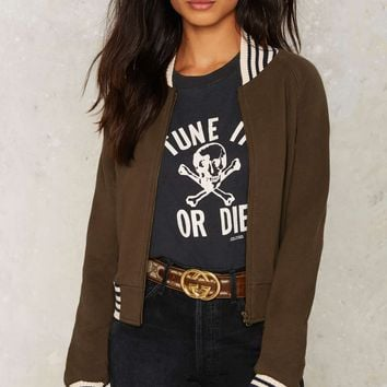 Nasty Gal Collection Strong Silent Stripe Bomber Jacket