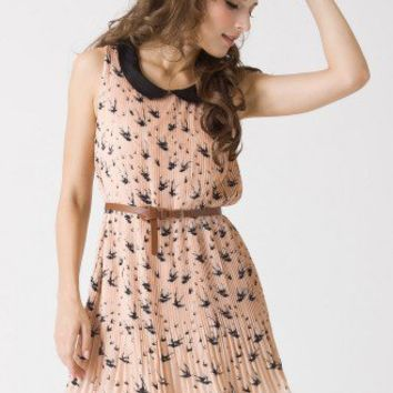 Swallow Print Peter Pan Collar Dress - Retro, Indie and Unique Fashion