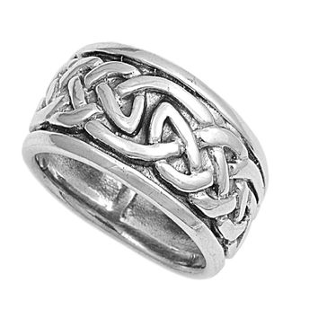 925 Sterling Silver Wiccan Magic 10MM Ring