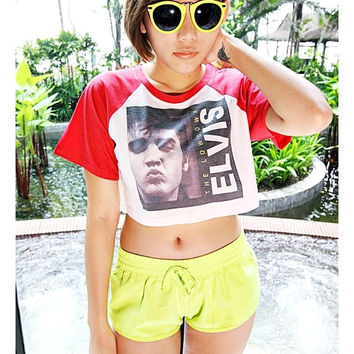 Elvis Presley Baseball T-Shirt Leopard, Pink, Red, Black And White Crop Shirt Cropped Top Hipster Sexy Girl