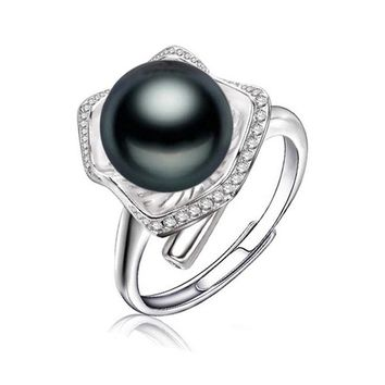 Black Pearl Jewelry, Pearl rings Freshwater Pearl white gold color ring