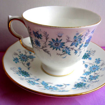 English Teacup Saucer Floral Dainty Blue and by TheDorothyDays