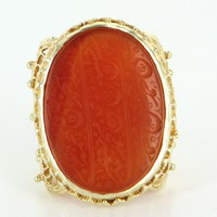 Carnelian Prayer Script Ring Vintage Filigree 14 Karat Gold Estate Fine Jewelry 6