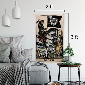 The Death Tarot Card Tapestry - Full Color Card Tapestry - Rider Waite Deck Tapestry by Printagrams