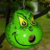 GRINCH BiRDHOUSE Gourd SWeeT ADoRABLE BriGht GRiNCHY Green & Peering Yellow Eyes Redy to SHiP!  Designs by Sugarbear