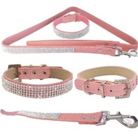 "WwWSuppliers Pink PU Leather Crocodile Rhinestones Bling Dog Puppy Cute Dazzling Sparkling Elegant Fancy Pet Adjustable Collar & Pink Bling Leash Lead Diva Fashion Combo (Large: 12 1/2""-15 1/2"")"