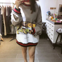 """""""Gucci"""" Women Casual Fashion Multicolor Tiger Print Loose Long Sleeve Sweater Tops"""