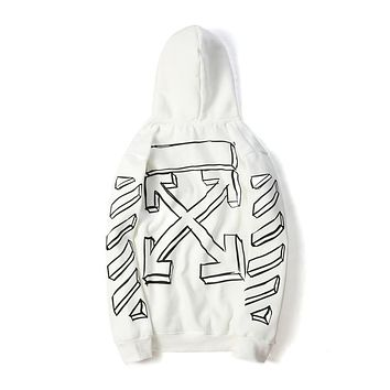 OFF-WHITE C/O VIRGIL ABLOH OW Black and White Sketch Striped Strap Hoodie F-A-KSFZ White