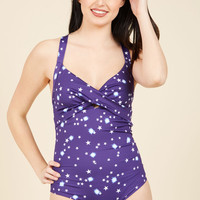 Read Between the Coastlines One-Piece Swimsuit in Universe | Mod Retro Vintage Bathing Suits | ModCloth.com