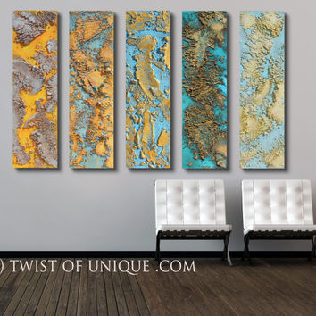 Rusted metal abstract / Oversized abstract painting/ Metallic /ORIGINAL abstract painting/ 12x48/ Silver, gold, bronze, blue, green