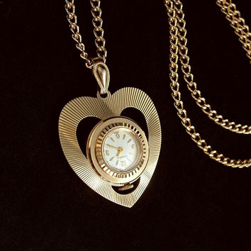 VINTAGE Ladies Wind-up WATCH Necklace Swiss Mechanical CARAVELLE Bulova HEART Shape Accurate Time c.1960's