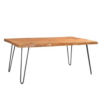 Driftwood Live Edge Solid Acacia Dining Table with Hairpin Legs | GFURN