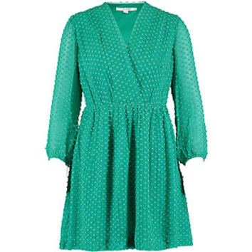 Boden Emerald Textured Silk Dress