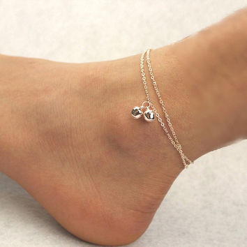 Elegant Womens Double Bell Chain Bead Anklet Ankle Bracelet Beach Foot Jewelry = 1705987780