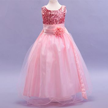 New flower girl dresses for wedding sequined sleeveless girl princess dress 7 sizes 8 colors dress for girl