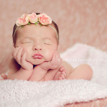 Pink & Ivory Roses Baby Girl Flower Headband, Skinny Elastic Newborn Girls Photo Props, Dainty Flowers Headbands, Ready to Ship