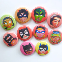 Girl Power Halloween Favors, Girl SuperHero Party Halloween Gift, Comic Book Vintage Costume Mask Pin Button, Weird Halloween Pin or Magnet
