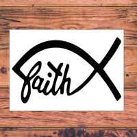 Faith Fish Decal | Christian Car Decal | Faith Hope Love Decal | Christian Family Decal | Christ First Decal | Christ Life Car Decal  | 286