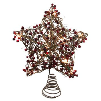 """13.5"""" Brown Rattan with Red Berries Star Christmas Tree Topper - Clear Lights"""