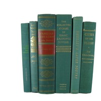Green Decorative Books for Designer Book Decor, S/6