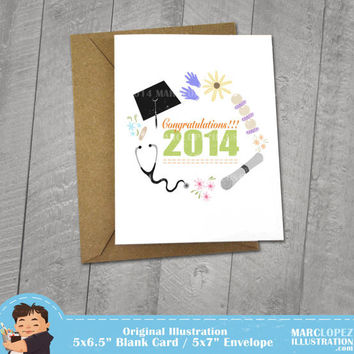 Nursing or Medical School Graduation Card, Congratulations 2014 Greeting or Blank Note Card, Perfect for Graduating Friends and Love Ones